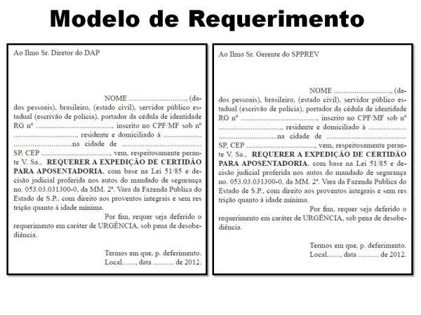 modelos de requerimentos