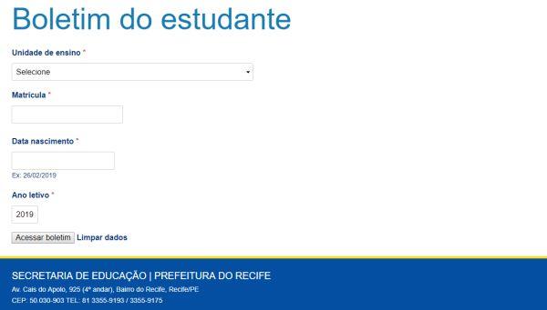 boletim online Recife