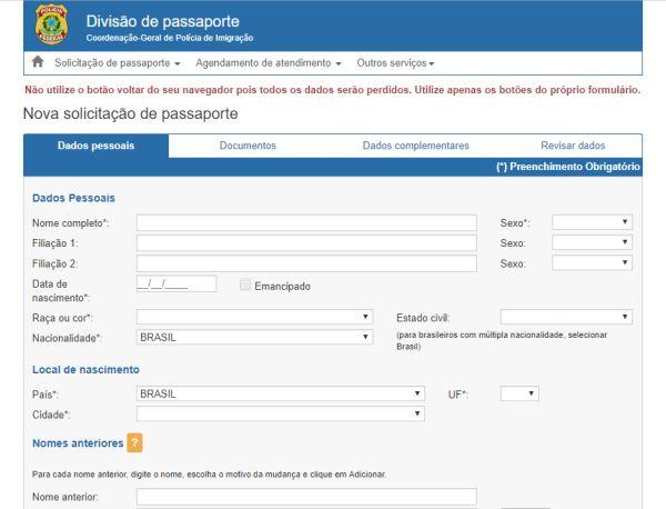 site para tirar passaporte