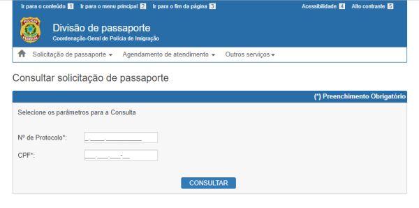 passaporte pela internet